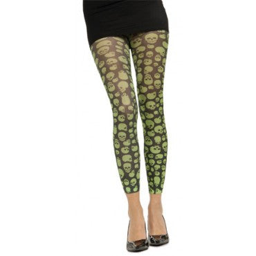 Green Skulls Print Leggings