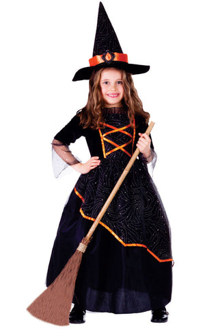 Girls Black & Orange Witch Costume