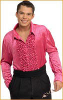 Mens Pink Retro Velvet Disco Shirt