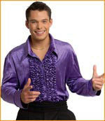 Mens Purple Retro Velvet Disco Shirt