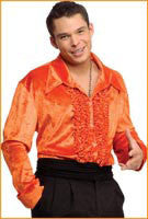 Mens Orange Retro Velvet Disco Shirt