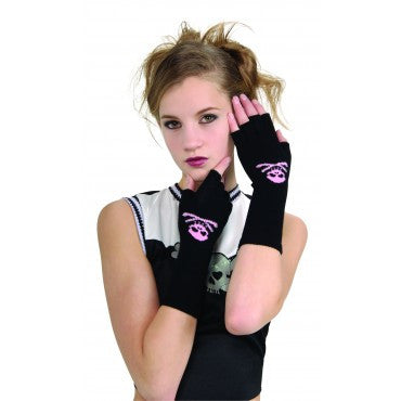 Kids Pink Skulls Gloves