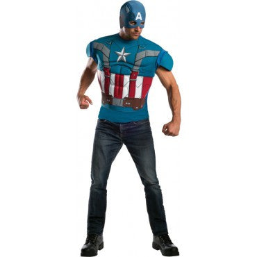 Mens Retro Cap America Costume Top