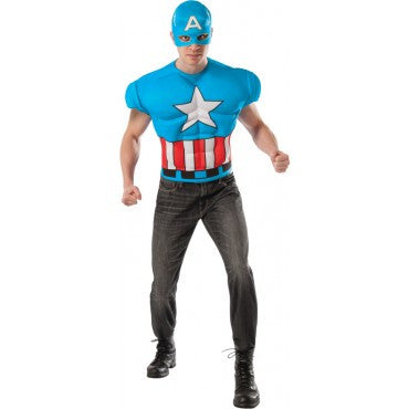 Mens Deluxe Captain America Muscle Chest Shirt & Mask