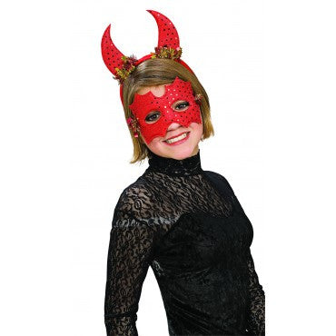 Sequin Devil Eyemask and Horns Set