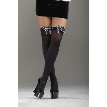 Black Skull Bow Thigh Highs