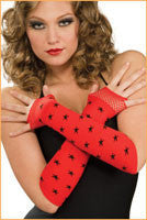 Red and Black Fingerless Gloves