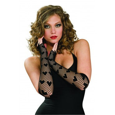 Heart Fishnet Gloves - Various Colors