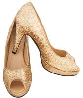 Gold Glitter Peep Toe Pumps
