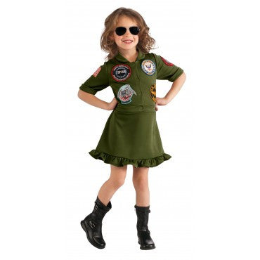 Girls Top Gun Flight Suit Costume