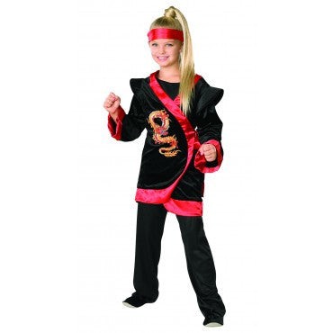 Girls Red Dragon Ninja Costume