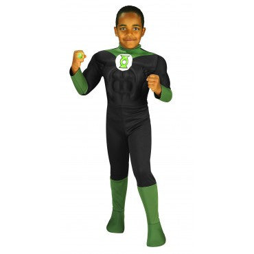 Boys Green Lantern Muscle Chest Costume