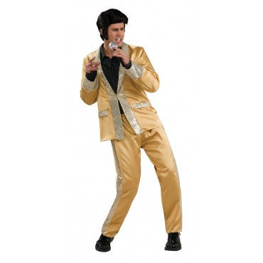 Mens Deluxe Elvis Gold Satin Suit