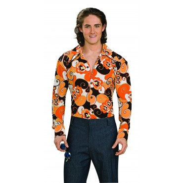 Mens Groovy Orange Print Shirt