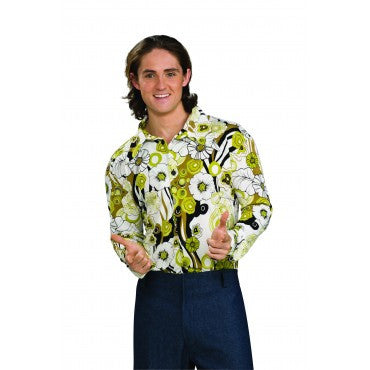 Mens Groovy Green Floral Print Shirt