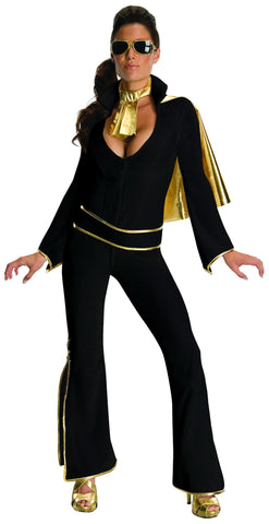 Womens Black Elvis Jumpsuit Costume