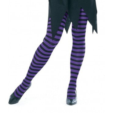 Purple and Black Striped Tights