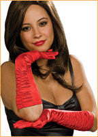 Red Satin Elbow Glove