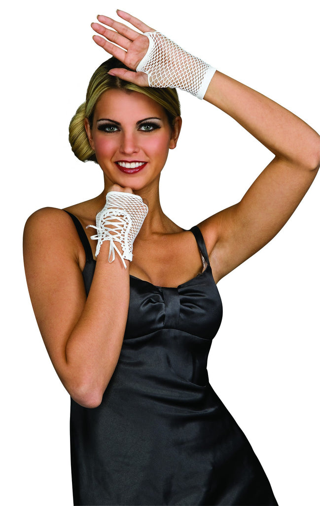 White Fingerless White Lace-Up Gloves