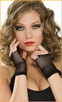 Black Fingerless Netted Wrist Gloves