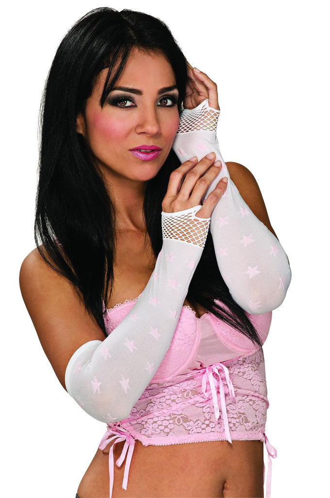 White and Pink Fingerless Gloves