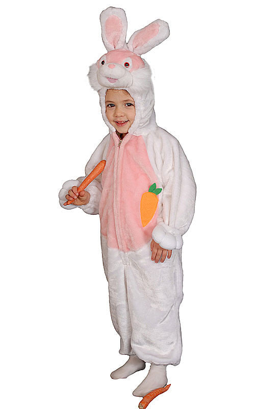 Kids/Toddlers White Plush Bunny Costume