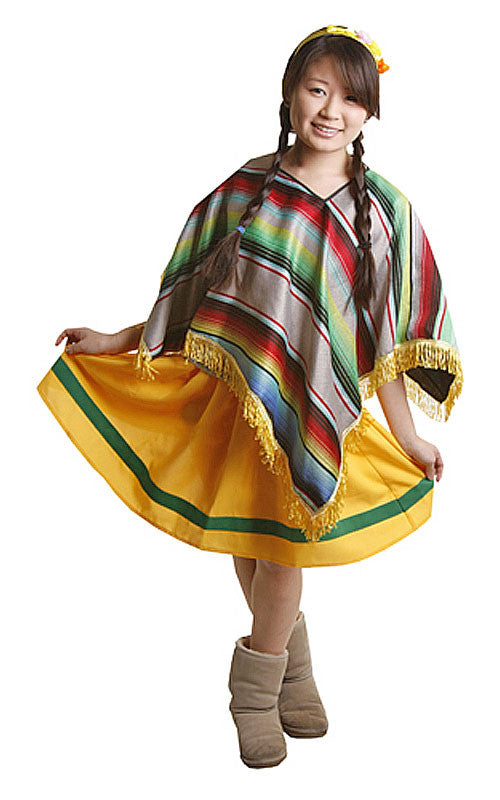 Girls Mexican Poncho Costume
