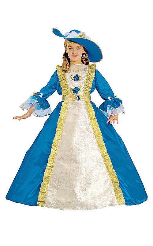Girls Elegant Blue Princess Costume