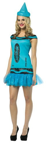 Womens Steel Blue Glitz & Glitter Crayola Crayon Tank Dress