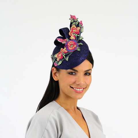 Vintage navy blue fascinator