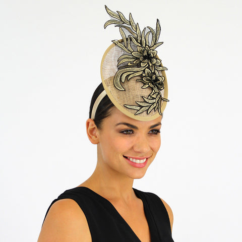 Two tone black/ gold fascinator