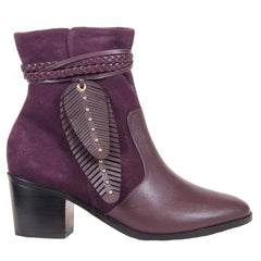 Burgundy leather booties