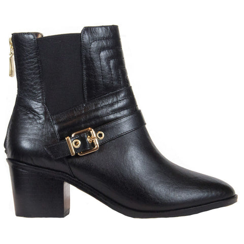Stella black leather booties