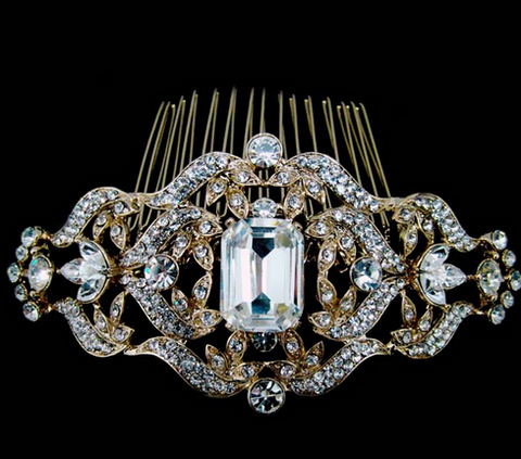 Gold or silver emerald crystal comb