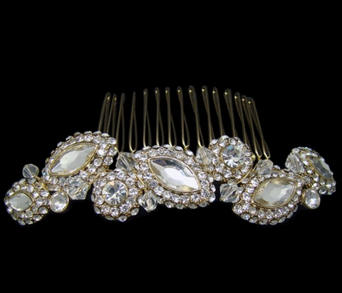 Bridal comb with oval diamonds