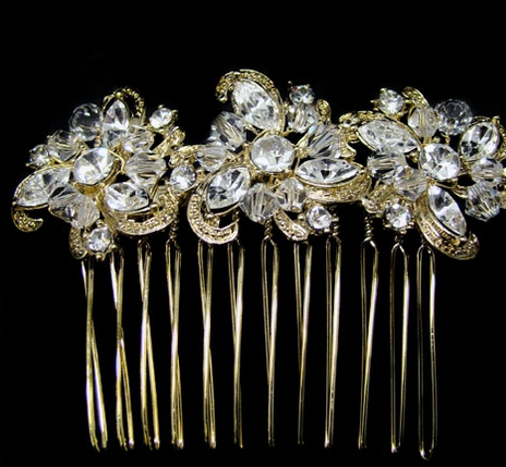 Gold crystal floral comb
