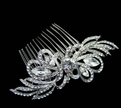 Marquise crystal comb