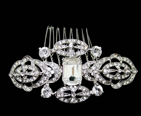 Emerald crystal bridal comb