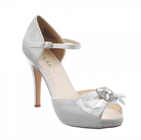Donatella jewelled bow peep toe shoe.