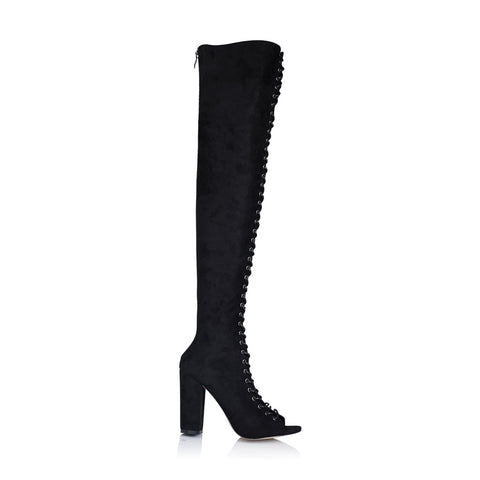 Bardot black suede lace up boot