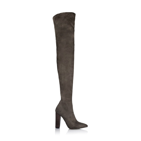 ODETTE DARK KHAKI SUEDE OVER THE KNEE BOOT