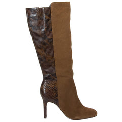 Rita long tan snakeskin boots