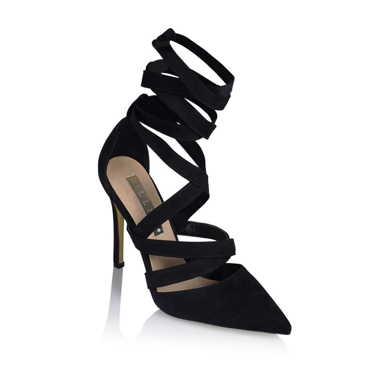 KOKO BLACK SUEDE LACE UP STILLETOS