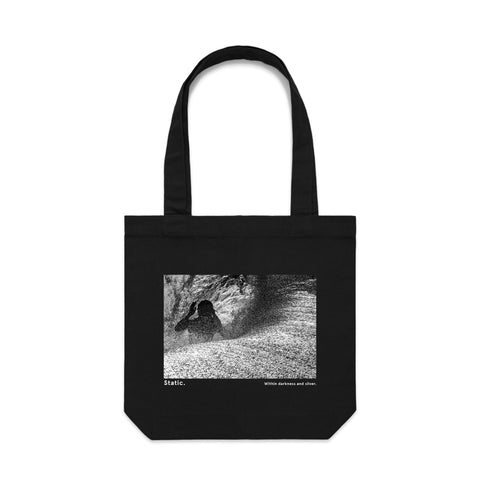 'Static. By Respondek' - Black Tot bag with photographic print (Featuring Craig Anderson) - Australia and USA shipping only.