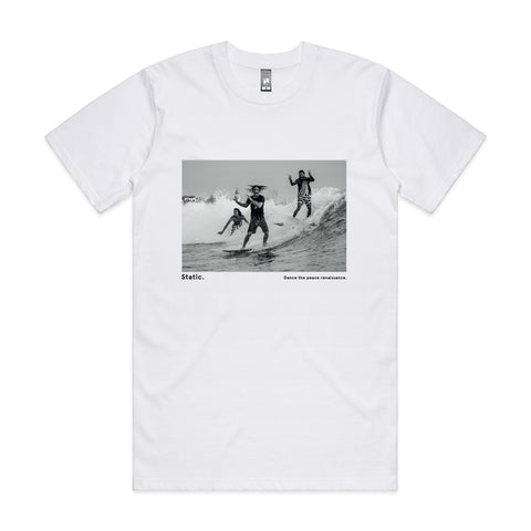 'Static. By respondek' White T-shirt with photographic print (Featuring Ozzie Wright, Craig Anderson, Dion Agius) - Australia and USA shipping only.