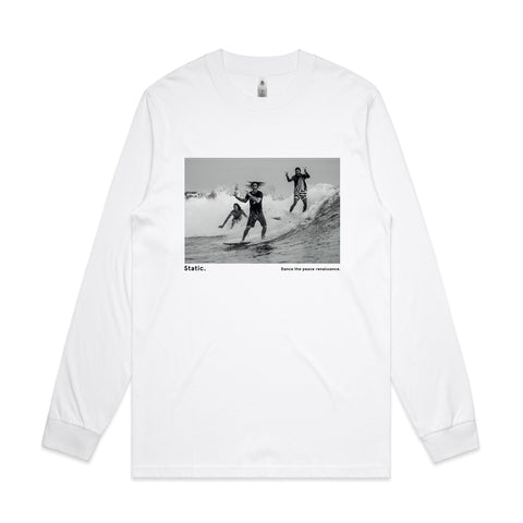 'Static. By respondek' White long sleeve T-shirt with photographic print (Featuring Ozzie Wright, Craig Anderson, Dion Agius) - Australia and USA shipping only.