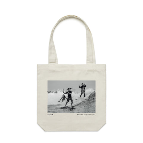 'Static. By respondek' Natural White Tote bag with photographic print (Featuring Ozzie Wright, Craig Anderson, Dion Agius) - Australia and USA shipping only.
