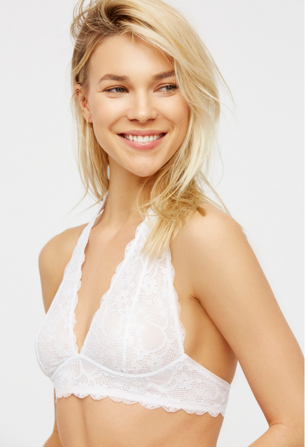 b20f3f4197dda6 Galloon Lace Halter by Free People. Free People.   20.00. Stretchy and soft  lace halter bralette with a plunging neckline ...