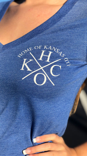 """ H/O KC Logo""- Next Level - Women's Triblend Deep V"
