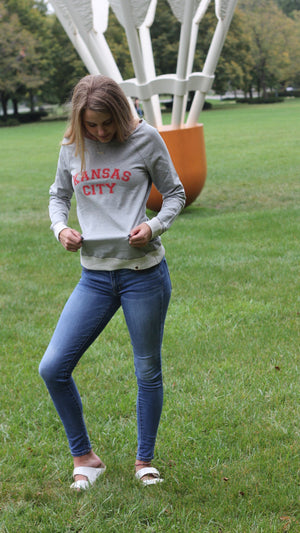 """Kansas City"" Champion - Originals Women's French Terry Boat Neck Sweatshirt"